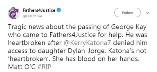 Kerry Katona's daughter defends her after Fathers 4 Justice say she has 'blood on her hands' over George Kay's death