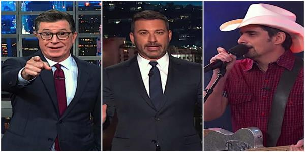 Stephen Colbert explains why El Pasos shunning Trump. Jimmy Kimmel and Brad Paisley offer a joyful antidote