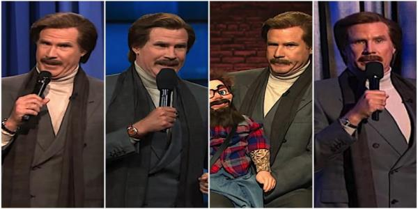 Will Ferrells Ron Burgundy tries stand-up on Fallon, Kimmel, Colbert, and Meyers. The joke is it isnt funny