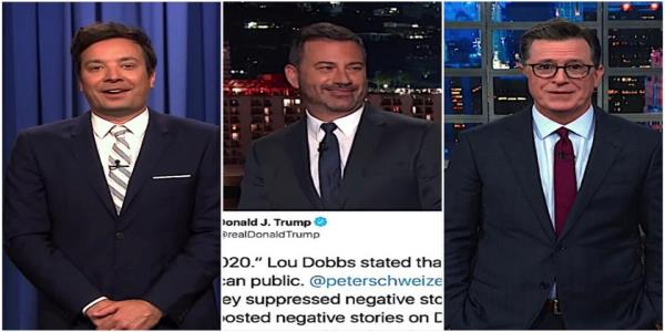 Jimmy Kimmel, Jimmy Fallon, and Stephen Colbert mock Donald Ttump for misspelling his own name