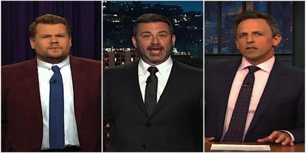 Jimmy Kimmel, Seth Meyers, James Corden count the ways Trump made his El Paso, Dayton visits about Trump