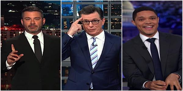 Stephen Colbert, Jimmy Kimmel, and Trevor Noah mock Trump for bungling Taliban peace, war with Chrissy Teigen