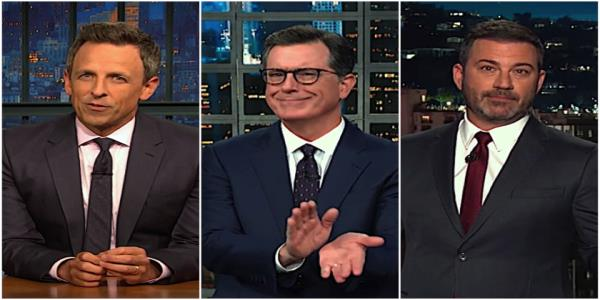 Stephen Colbert, Jimmy Kimmel, Seth Meyers have a question about Boltons ouster, Trumps odd Melania slip