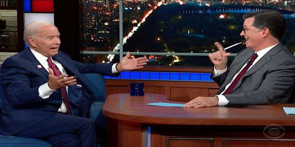 Stephen Colbert razzes Joe Biden about his many gaffes. Biden slyly pokes him back