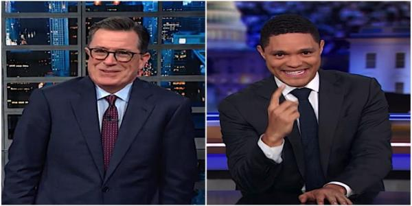 Stephen Colbert, Trevor Noah compare Trumps awkward Hispanic outreach in New Mexico, Warrens NYC rally