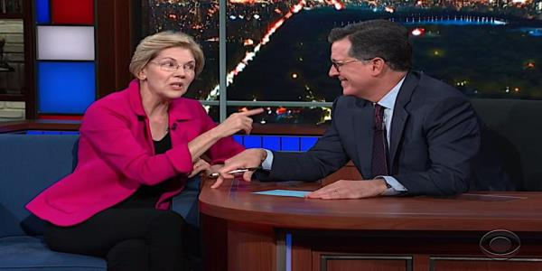 Elizabeth Warren tells Stephen Colbert why she likes selfies, how shell fix America, where she agrees with Trump