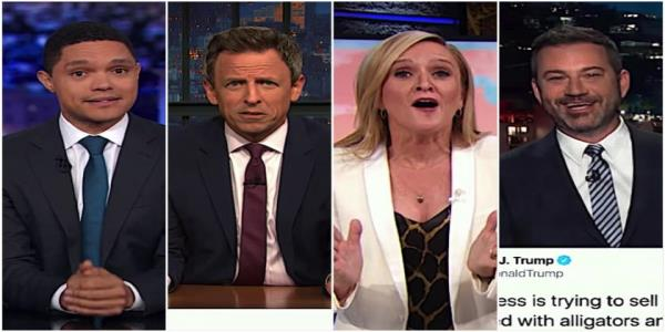 Late-night hosts try to digest Trump asking for and actually pricing out an alligator-filled border moat