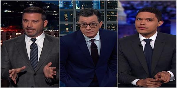 Stephen Colbert, Jimmy Kimmel, and Trevor Noah are pretty sure Trump cant just say no to impeachment