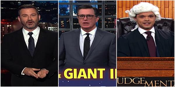 Stephen Colbert, Trevor Noah, and Jimmy Kimmel hit Trumps about-to-lose-power trio of impeachment-kissed aides
