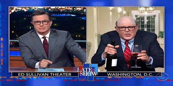 Stephen Colbert grills John Lithgows manic, wine-guzzling Rudy Giuliani about his pile of Ukraine woes