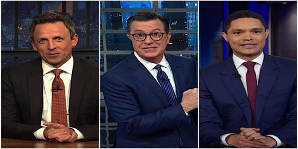 Stephen Colbert, Seth Meyers, and Trevor Noah pan Republican reactions to the House impeachment vote