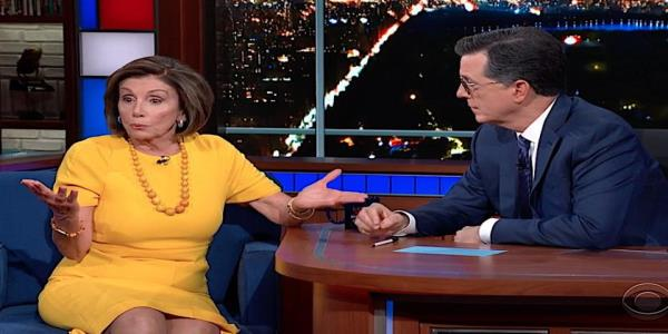 Nancy Pelosi tells Stephen Colbert why impeaching Trump is sad. Colbert explains why people are cheering