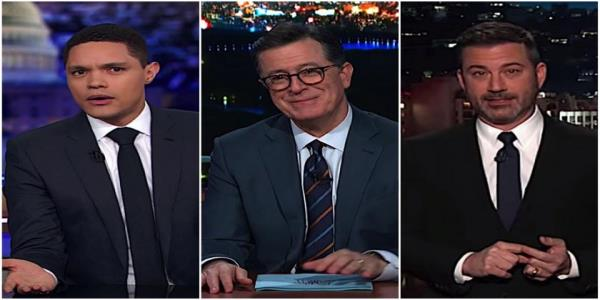 Stephen Colbert, Jimmy Kimmel, and Trevor Noah roundly mock Trumps easily sliced border wall
