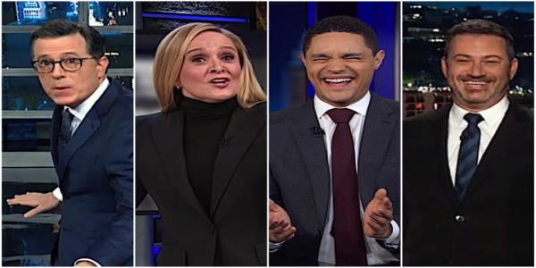 Late night hosts surf the blue wave that just wiped out Republican officeholders, Trumps ego