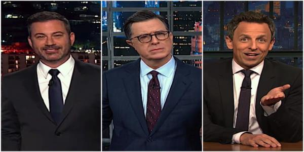 Stephen Colbert and Jimmy Kimmel think its a bad sign William Barr declined to defend Trump on Ukraine