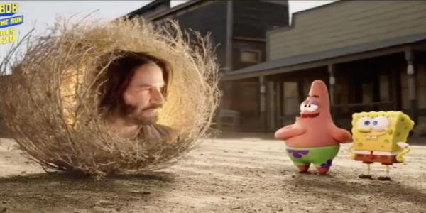 Keanu Reeves shows up as a tumbleweed in the new SpongeBob movie