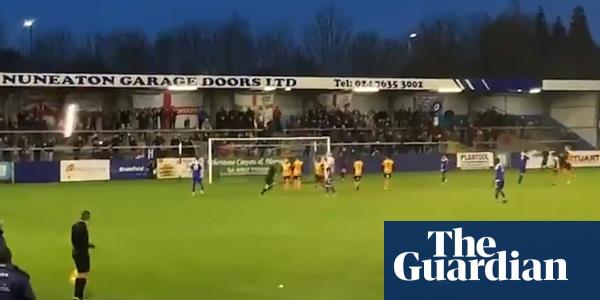 Nuneaton Borough keeper shanks his penalty into stands and breaks a light – video