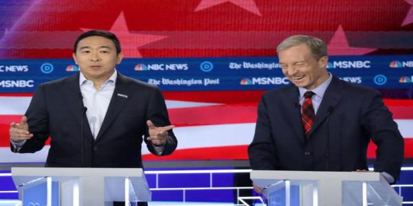 Andrew Yang gave Tom Steyer an unexpected compliment on the Democratic debate stage