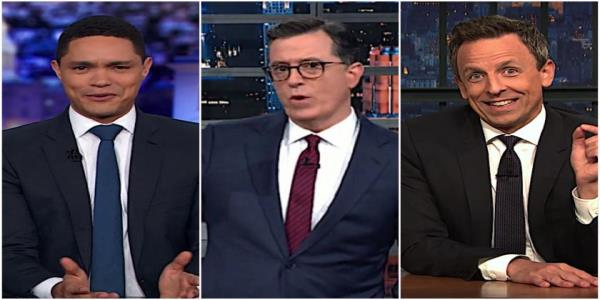 Stephen Colbert, Trevor Noah, and Seth Meyers take stock of the 1st week of juicy public impeachment evidence