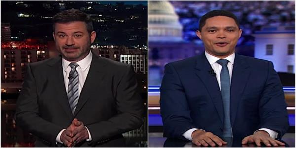 Jimmy Kimmel and Trevor Noah laugh, wince at Trumps NATO summit antics