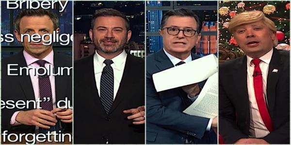 Late night hosts gawk at Trumps deranged and incoherent pre-impeachment shriek at Nancy Pelosi