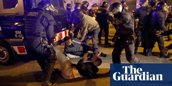 Dozens hurt as Catalonia independence protesters clash with police at Barcelona match