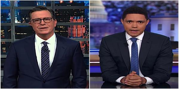 Stephen Colbert and Trevor Noah pick apart the remains of Trumps eminent threat rationale for striking Iran