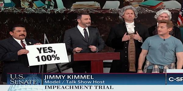 Jimmy Kimmel brings in his own expert witnesses to solve the Senate GOPs Trump impeachment dilemma