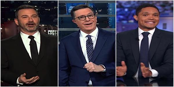 Stephen Colbert, Jimmy Kimmel, and Trevor Noah gawk as John Bolton bombs GOP impeachment unity