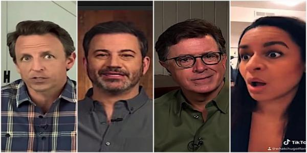 Stephen Colbert, Jimmy Kimmel, and Seth Meyers ponder Trumps positively negative word salad, mask timidity