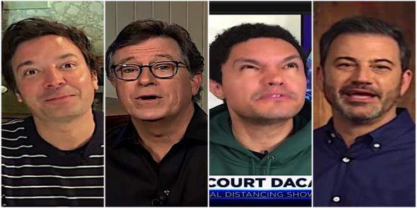 Stephen Colbert, Trevor Noah, and Jimmy Fallon are amused at Trumps response to his Supreme Court defeats