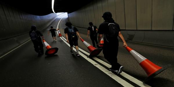 How innovative Hong Kong protesters are using lasers, traffic cones and parkour in battle with police