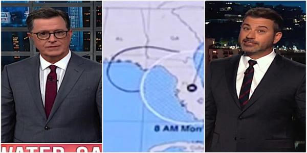 Stephen Colbert and Jimmy Kimmel gawk at Trumps insane Sharpie-doctored Dorian map