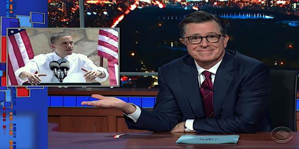 Stephen Colbert chides Trump for stealing his Colbert Report alligator-moat bit from Obama