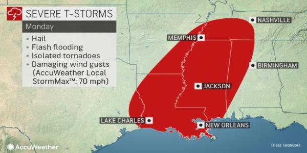 Severe storms, isolated tornadoes to rattle Deep South early this week