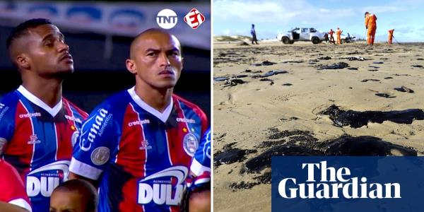Brazilian footballers protest oil spill with custom-made shirts and gloves – video report