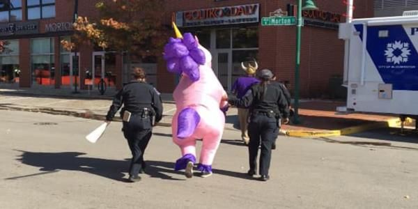 Cops Bust Unicorn Protesting White Supremacy at Indiana Farmer's Market