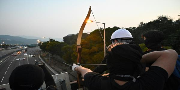 Catapults, flaming arrows: Hong Kong protesters medieval tech