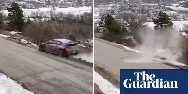 Ott Tanak walks away after dramatic crash in Monte Carlo Rally – video