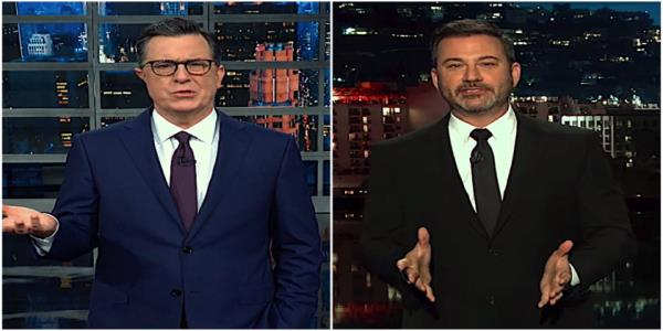 Stephen Colbert and Jimmy Kimmel contextualize Trumps unholy prayer breakfast pity party