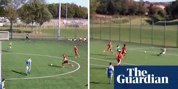 Two goals in first 30 seconds: halfway-line strike in U16 match sees instant reply – video