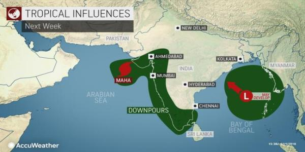 Tropical Cyclone Maha to threaten flooding, damaging winds in western India by middle of next week