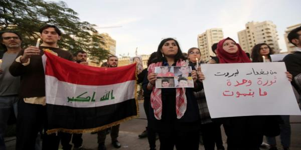 Lebanese rally against Iraqs crackdown on protesters