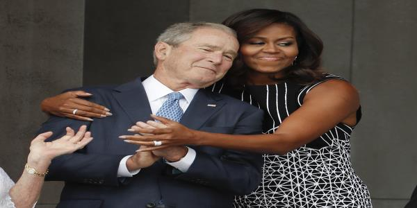 Michelle Obama says she and George W. Bush disagree on policy but their values are the same
