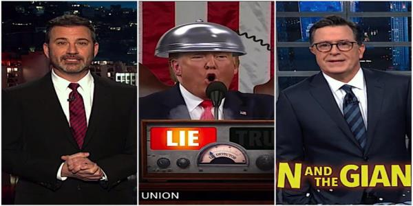 Stephen Colbert and Jimmy Kimmel recap Trumps truthy State of the Union game show