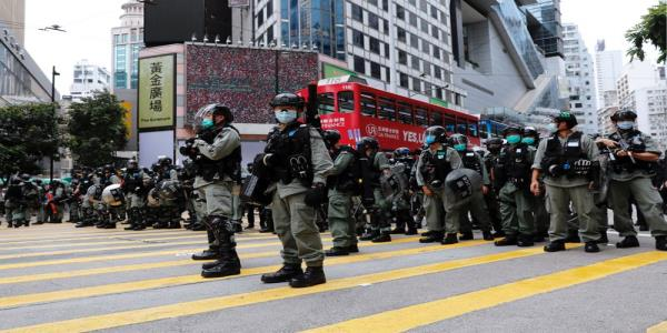 Hong Kong legislature surrounded by riot police ahead of expected protests
