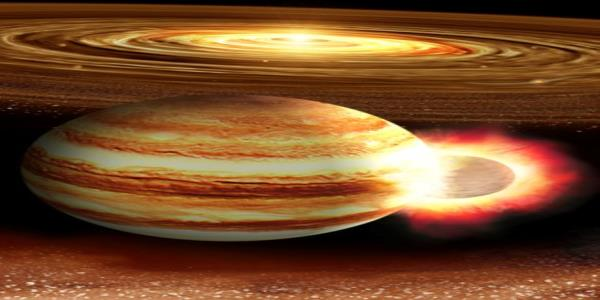 Planet 10 times Earths mass may have smacked Jupiter long ago