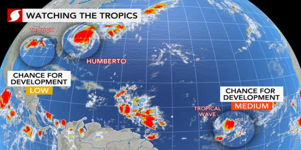 New tropical system likely to join Humberto in Atlantic