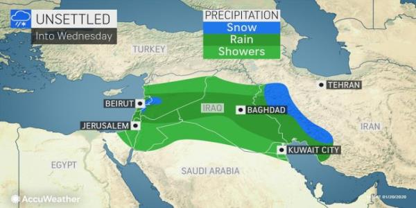 Pair of storms to unleash rain, snow across Middle East this week