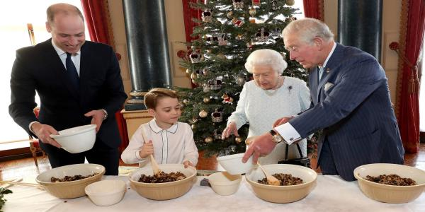 Queen and three princes carry on the Christmas pudding tradition in aid of lonely veterans